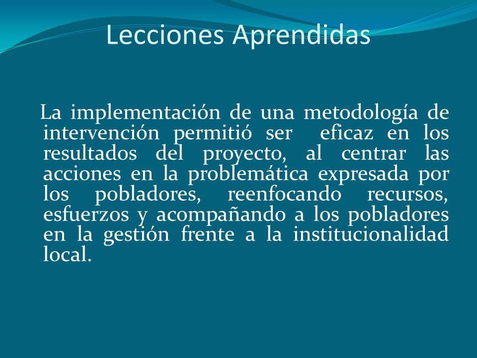 Lecciones Aprendidas La implementación de una metodología de intervención permitió ser eficaz en los resultados del proyecto, al centrar las acciones
