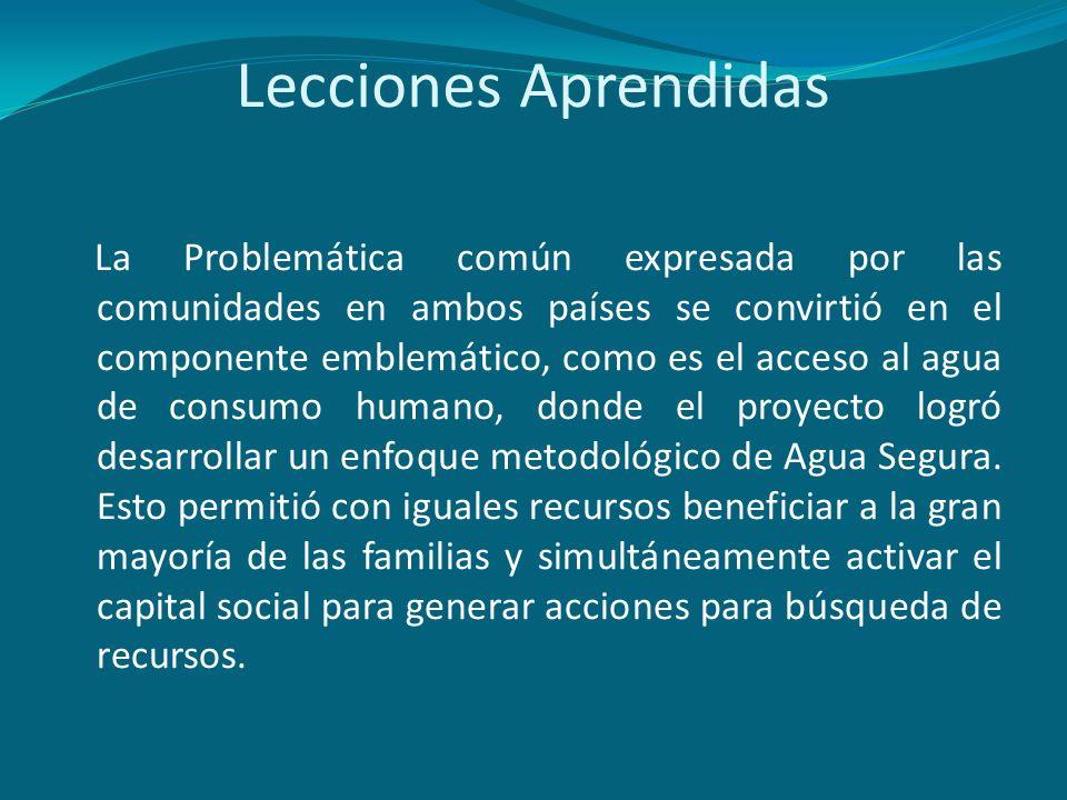 Lecciones Aprendidas La Problemática común expresada por las comunidades en ambos países se convirtió en el componente emblemático, como es el acceso