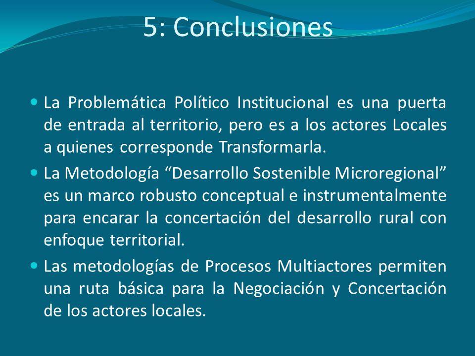 5: Conclusiones La Problemática Político Institucional es una puerta de entrada al territorio, pero es a los actores Locales a quienes corresponde Tra