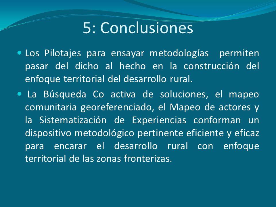 5: Conclusiones Los Pilotajes para ensayar metodologías permiten pasar del dicho al hecho en la construcción del enfoque territorial del desarrollo ru