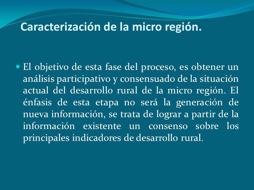 Caracterización de la micro región. El objetivo de esta fase del proceso, es obtener un análisis participativo y consensuado de la situación actual de