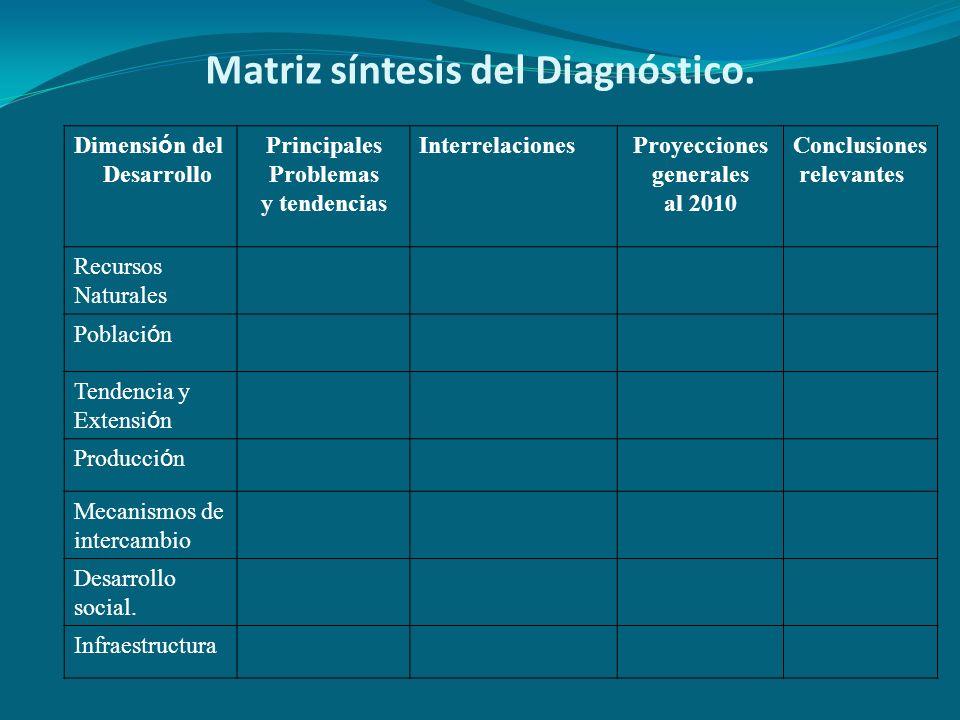 Matriz síntesis del Diagnóstico. Dimensi ó n del Desarrollo Principales Problemas y tendencias InterrelacionesProyecciones generales al 2010 Conclusio