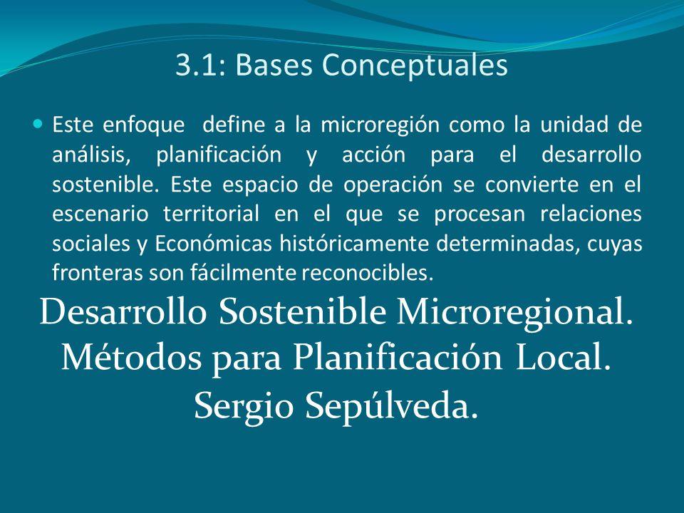 3.1: Bases Conceptuales Este enfoque define a la microregión como la unidad de análisis, planificación y acción para el desarrollo sostenible. Este es