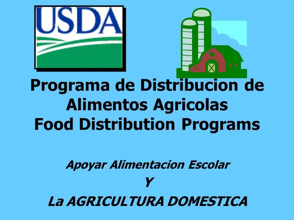 Apoyar Alimentacion Escolar Y La AGRICULTURA DOMESTICA Programa de Distribucion de Alimentos Agricolas Food Distribution Programs