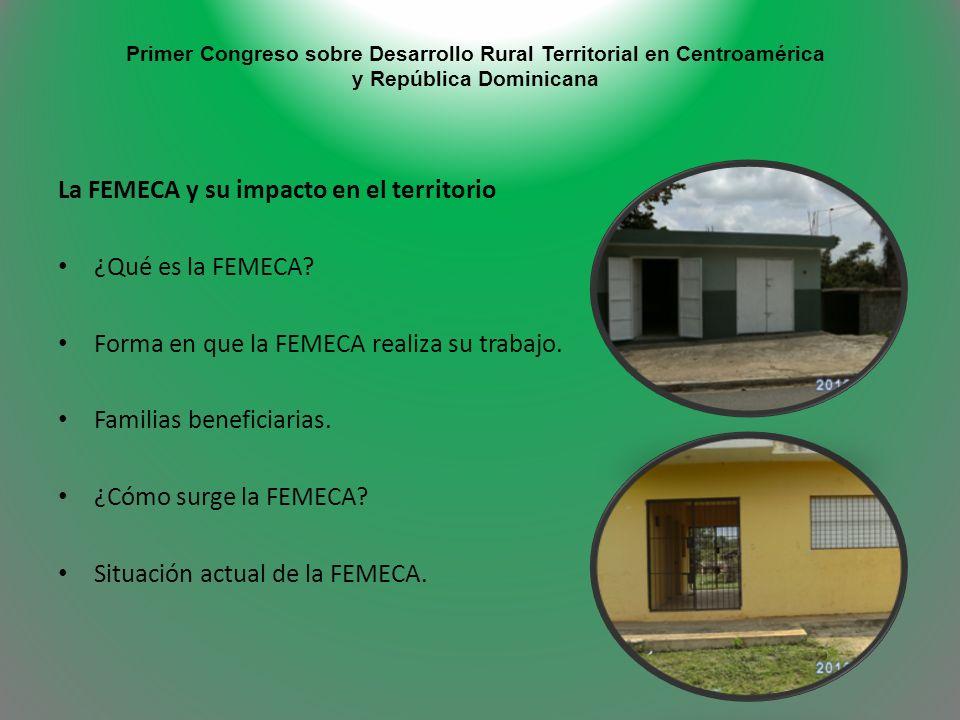 Primer Congreso sobre Desarrollo Rural Territorial en Centroamérica y República Dominicana La FEMECA y su impacto en el territorio ¿Qué es la FEMECA?