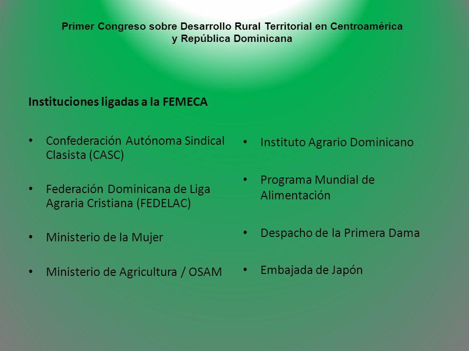 Primer Congreso sobre Desarrollo Rural Territorial en Centroamérica y República Dominicana Instituciones ligadas a la FEMECA Confederación Autónoma Si