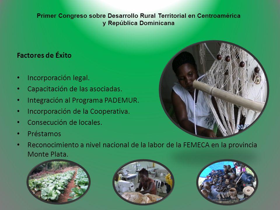 Primer Congreso sobre Desarrollo Rural Territorial en Centroamérica y República Dominicana Factores de Éxito Incorporación legal. Capacitación de las