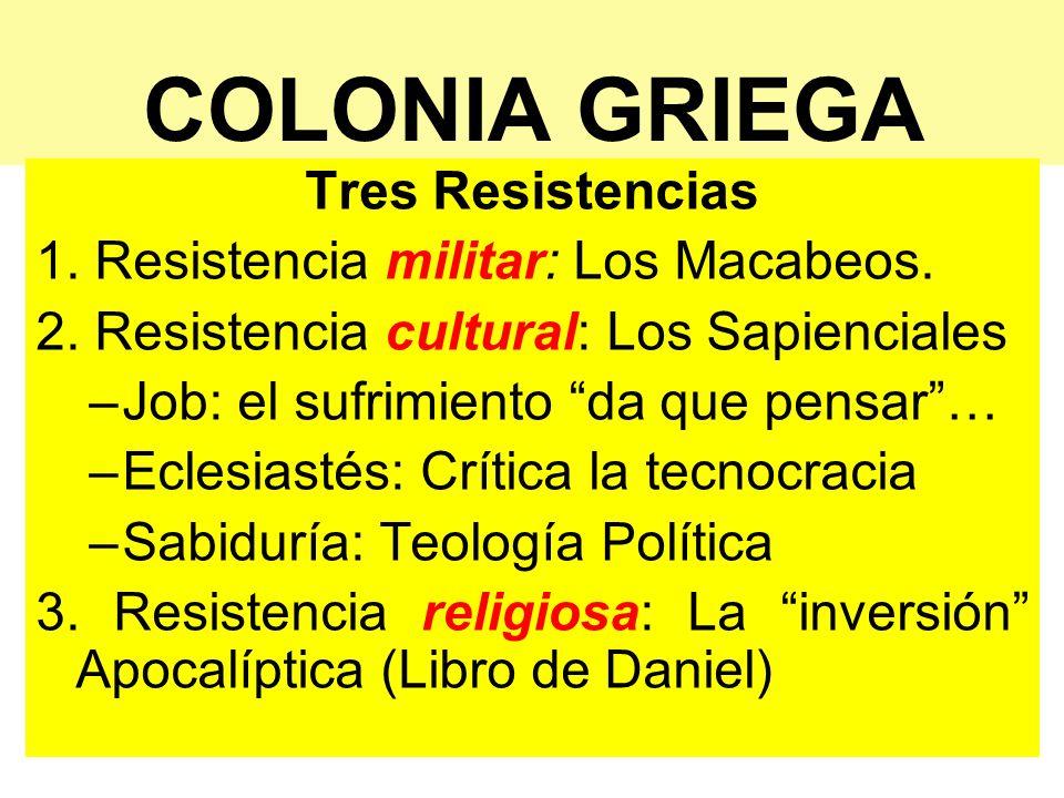 COLONIA GRIEGA Tres Resistencias 1. Resistencia militar: Los Macabeos. 2. Resistencia cultural: Los Sapienciales –Job: el sufrimiento da que pensar… –