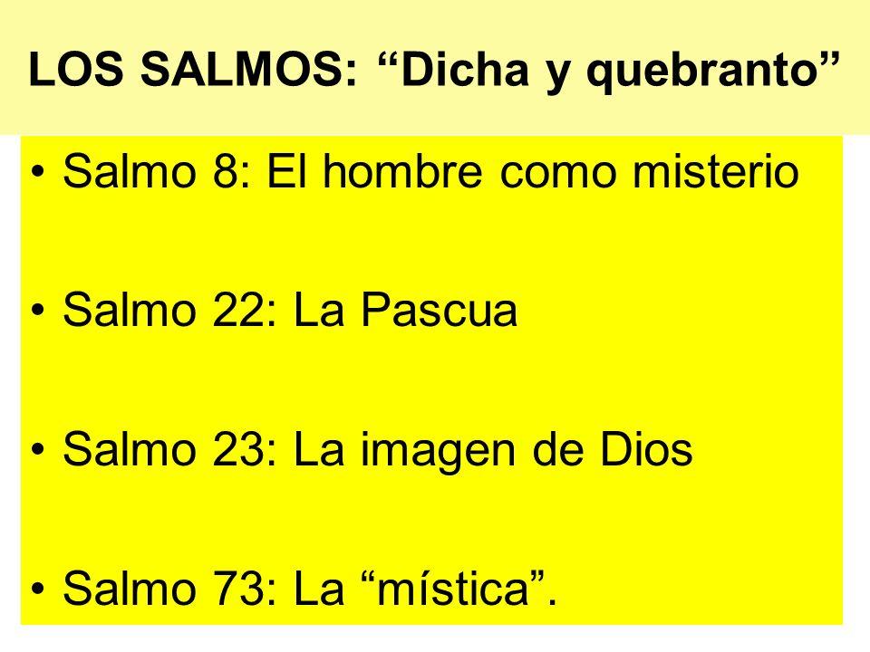 LOS SALMOS: Dicha y quebranto Salmo 8: El hombre como misterio Salmo 22: La Pascua Salmo 23: La imagen de Dios Salmo 73: La mística.