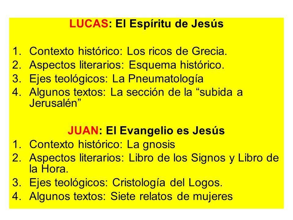 LUCAS: El Espíritu de Jesús 1.Contexto histórico: Los ricos de Grecia. 2.Aspectos literarios: Esquema histórico. 3.Ejes teológicos: La Pneumatología 4