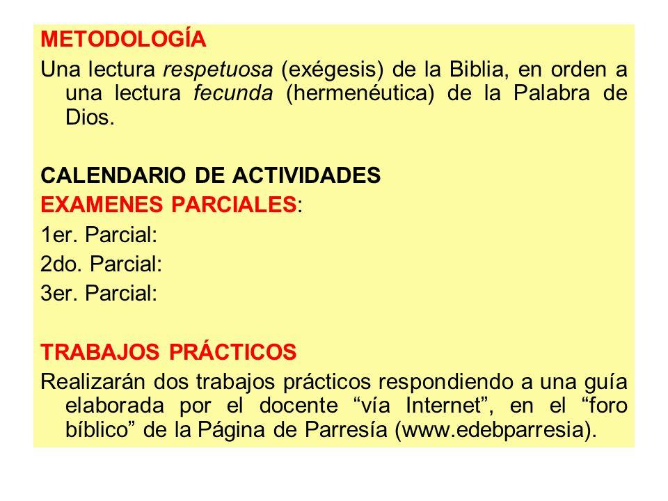 METODOLOGÍA Una lectura respetuosa (exégesis) de la Biblia, en orden a una lectura fecunda (hermenéutica) de la Palabra de Dios. CALENDARIO DE ACTIVID