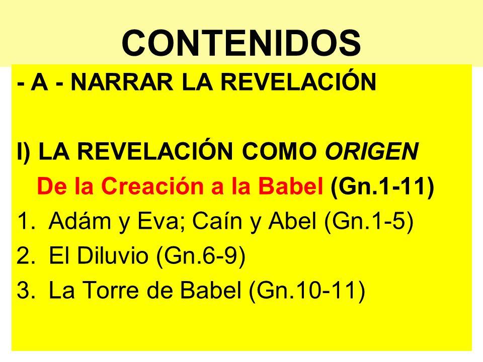 CONTENIDOS - A - NARRAR LA REVELACIÓN I) LA REVELACIÓN COMO ORIGEN De la Creación a la Babel (Gn.1-11) 1.Adám y Eva; Caín y Abel (Gn.1-5) 2.El Diluvio