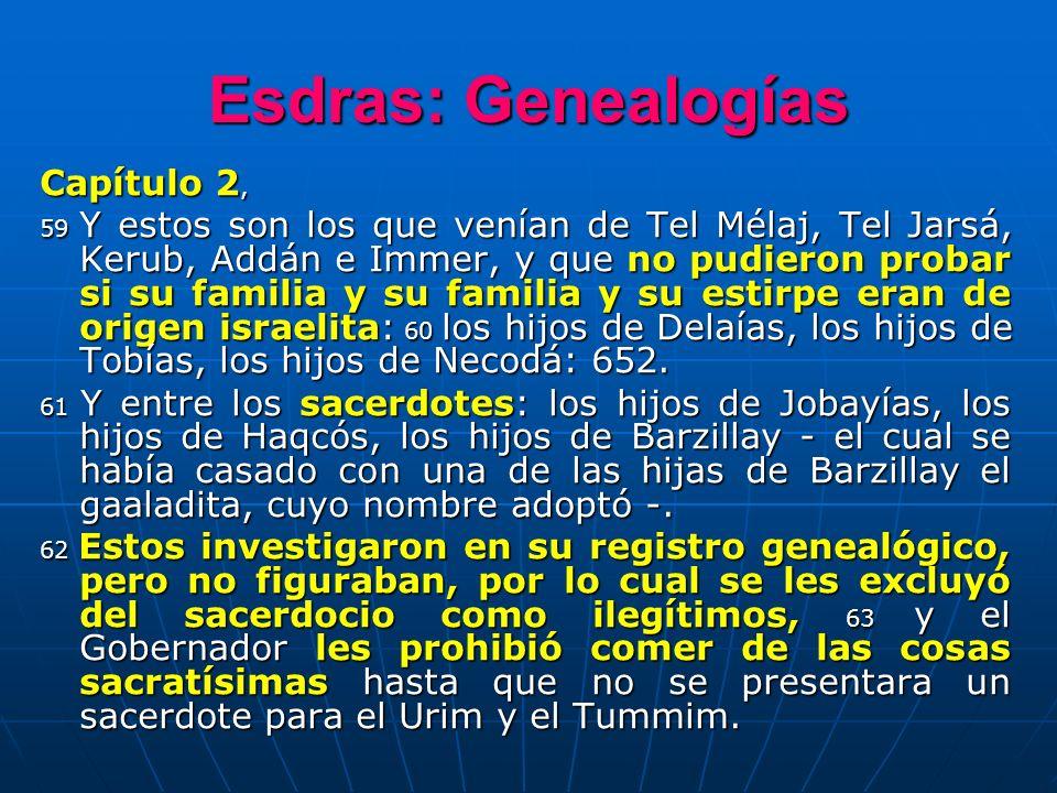 Esdras: Genealogías Capítulo 2, 59 Y estos son los que venían de Tel Mélaj, Tel Jarsá, Kerub, Addán e Immer, y que no pudieron probar si su familia y