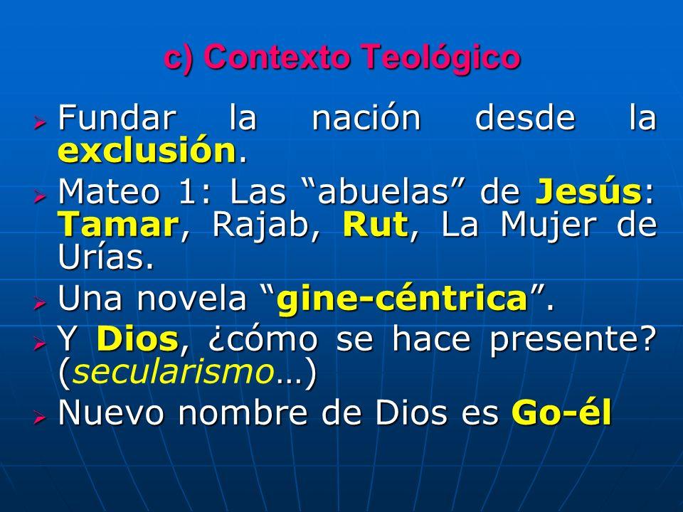 c) Contexto Teológico Fundar la nación desde la exclusión. Fundar la nación desde la exclusión. Mateo 1: Las abuelas de Jesús: Tamar, Rajab, Rut, La M