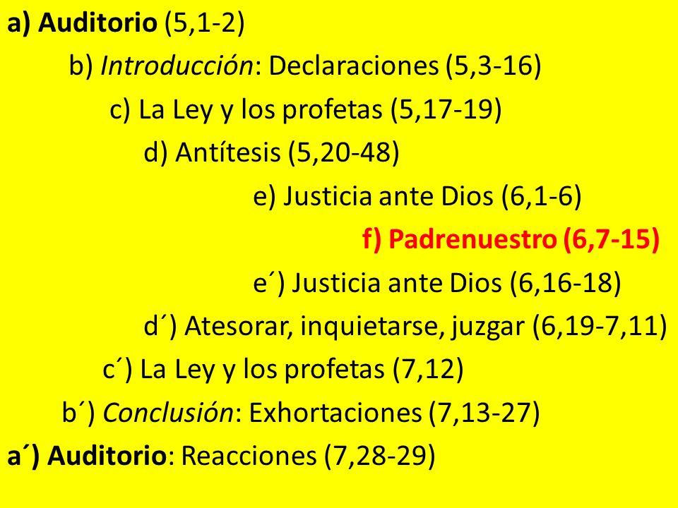 a) Auditorio (5,1-2) b) Introducción: Declaraciones (5,3-16) c) La Ley y los profetas (5,17-19) d) Antítesis (5,20-48) e) Justicia ante Dios (6,1-6) f