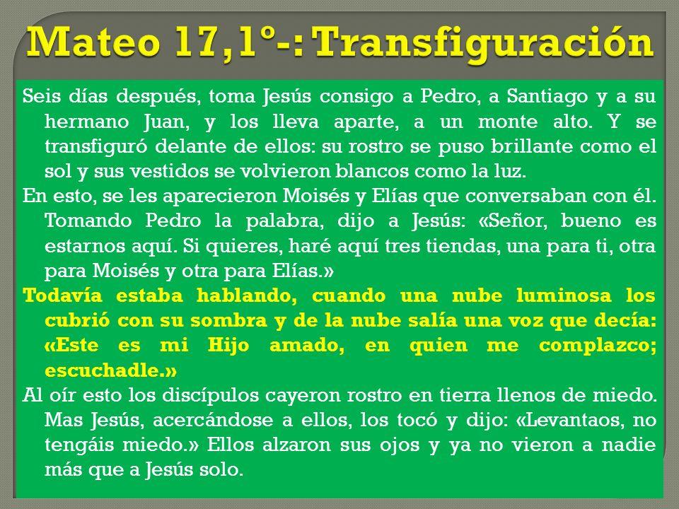 Seis días después, toma Jesús consigo a Pedro, a Santiago y a su hermano Juan, y los lleva aparte, a un monte alto. Y se transfiguró delante de ellos: