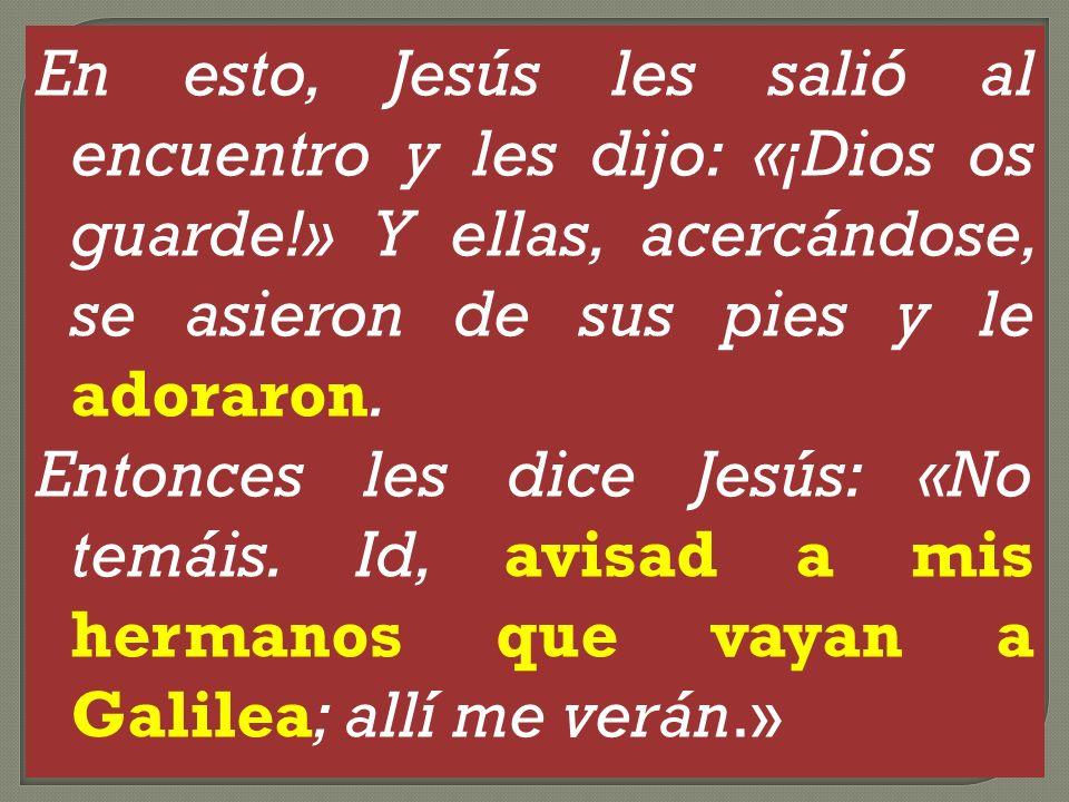 En esto, Jesús les salió al encuentro y les dijo: «¡Dios os guarde!» Y ellas, acercándose, se asieron de sus pies y le adoraron. Entonces les dice Jes