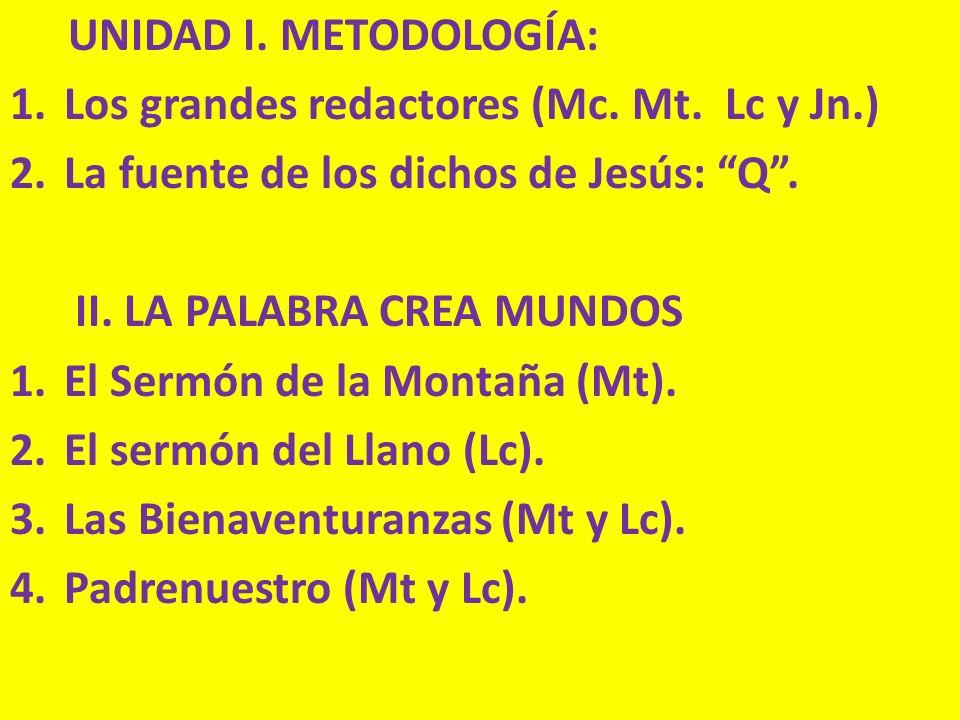UNIDAD I. METODOLOGÍA: 1.Los grandes redactores (Mc. Mt. Lc y Jn.) 2.La fuente de los dichos de Jesús: Q. II. LA PALABRA CREA MUNDOS 1.El Sermón de la