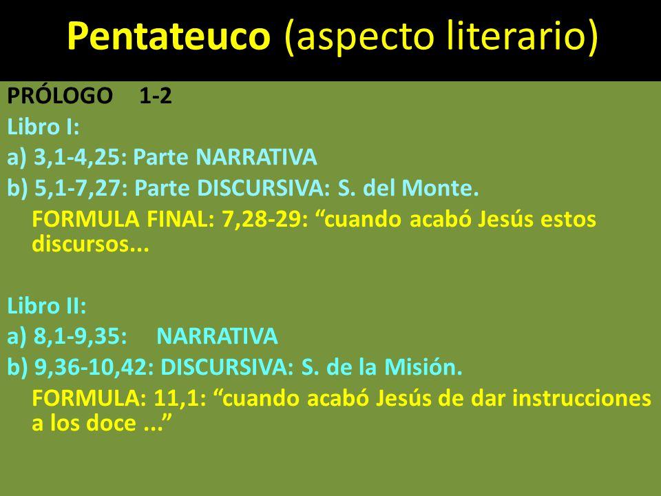 Pentateuco (aspecto literario) PRÓLOGO1-2 Libro I: a) 3,1-4,25: Parte NARRATIVA b) 5,1-7,27: Parte DISCURSIVA: S. del Monte. FORMULA FINAL: 7,28-29: c