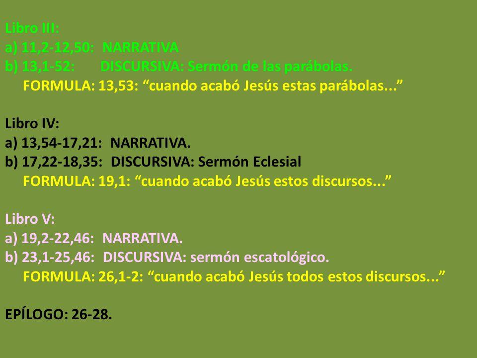 Libro III: a) 11,2-12,50: NARRATIVA b) 13,1-52: DISCURSIVA: Sermón de las parábolas. FORMULA: 13,53: cuando acabó Jesús estas parábolas... Libro IV: a
