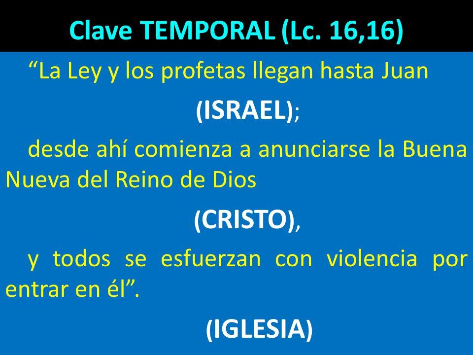 Clave TEMPORAL (Lc. 16,16) La Ley y los profetas llegan hasta Juan ( ISRAEL ); desde ahí comienza a anunciarse la Buena Nueva del Reino de Dios ( CRIS