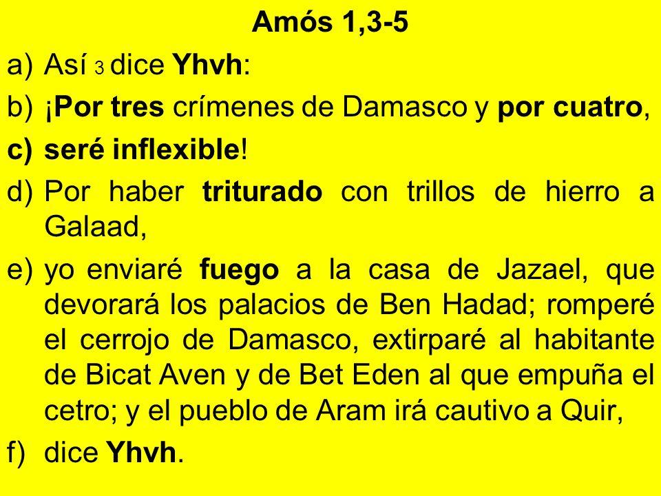Amós 1,3-5 a)Así 3 dice Yhvh: b)¡Por tres crímenes de Damasco y por cuatro, c)seré inflexible! d)Por haber triturado con trillos de hierro a Galaad, e