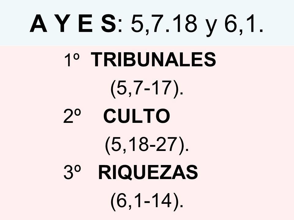 A Y E S: 5,7.18 y 6,1. 1º TRIBUNALES (5,7-17). 2º CULTO (5,18-27). 3º RIQUEZAS (6,1-14).