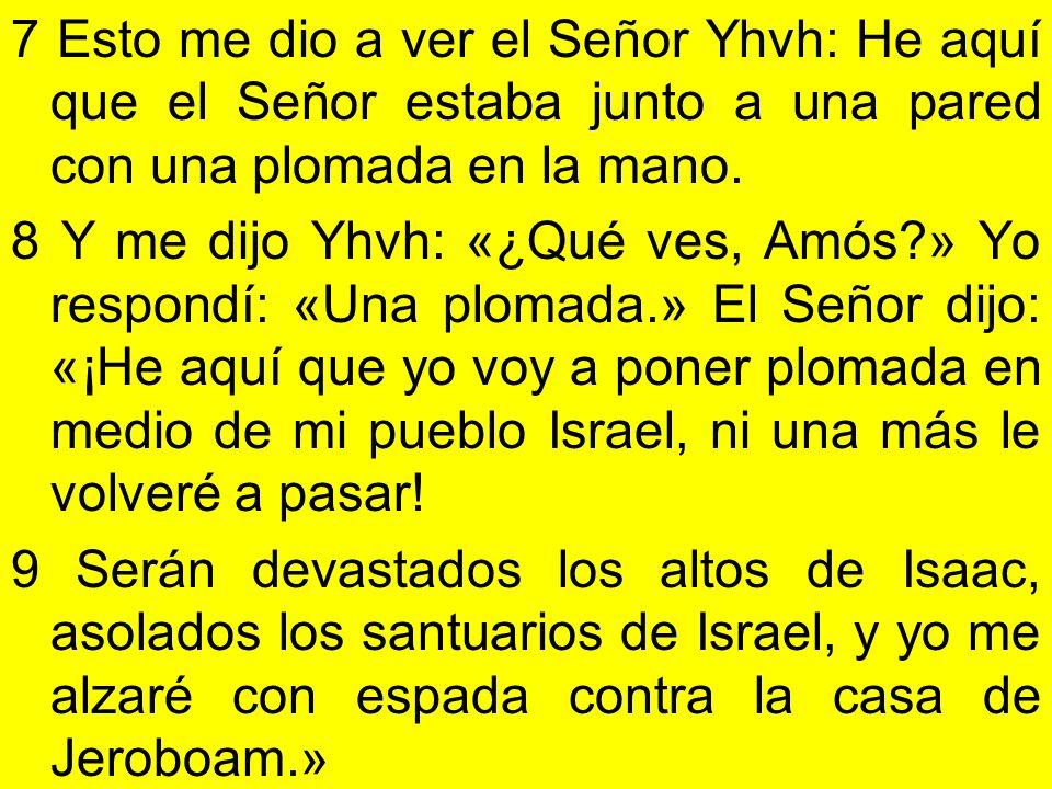 7 Esto me dio a ver el Señor Yhvh: He aquí que el Señor estaba junto a una pared con una plomada en la mano. 8 Y me dijo Yhvh: «¿Qué ves, Amós?» Yo re