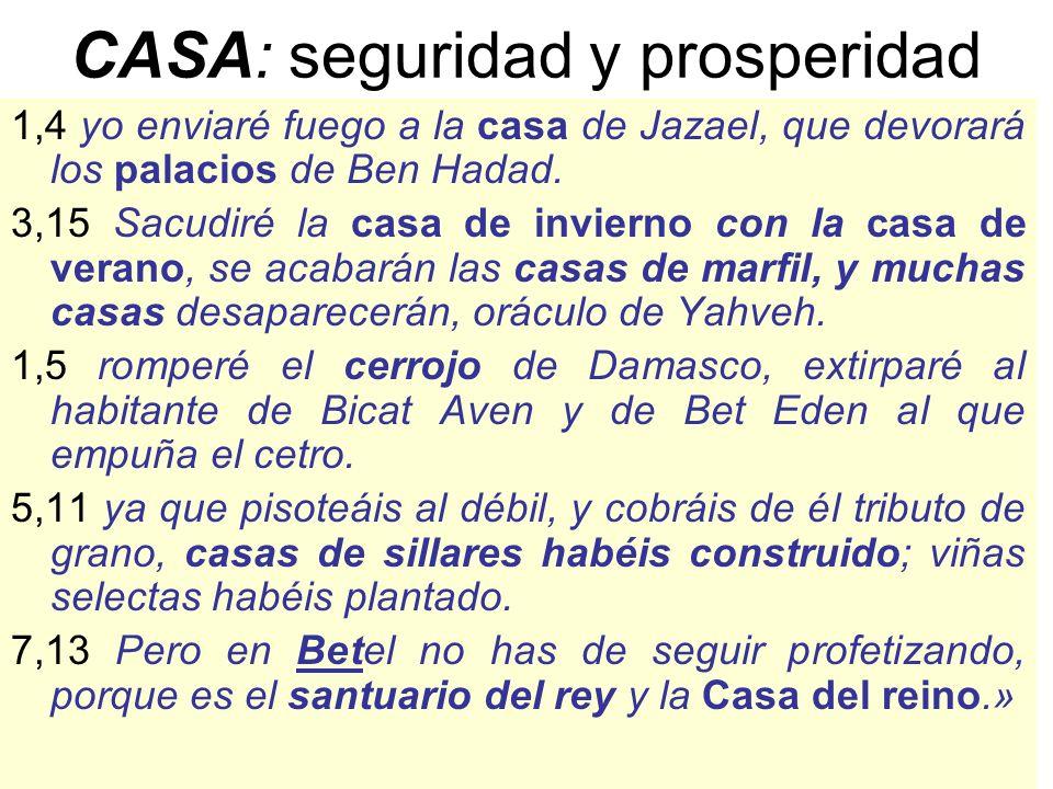 CASA: seguridad y prosperidad 1,4 yo enviaré fuego a la casa de Jazael, que devorará los palacios de Ben Hadad. 3,15 Sacudiré la casa de invierno con