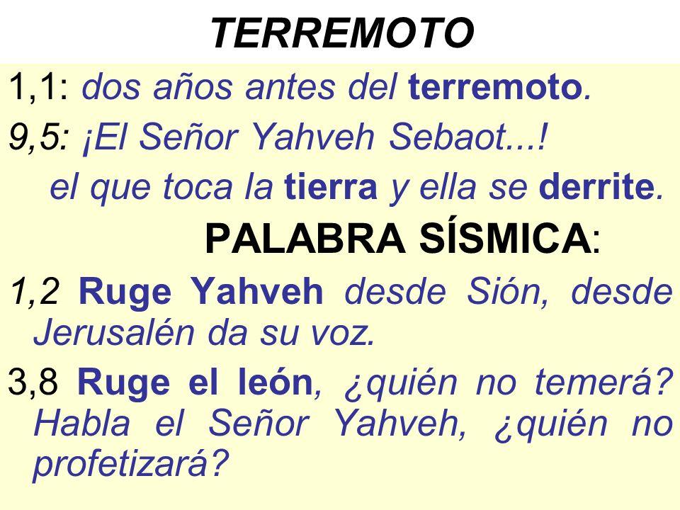 TERREMOTO 1,1: dos años antes del terremoto. 9,5: ¡El Señor Yahveh Sebaot...! el que toca la tierra y ella se derrite. PALABRA SÍSMICA: 1,2 Ruge Yahve