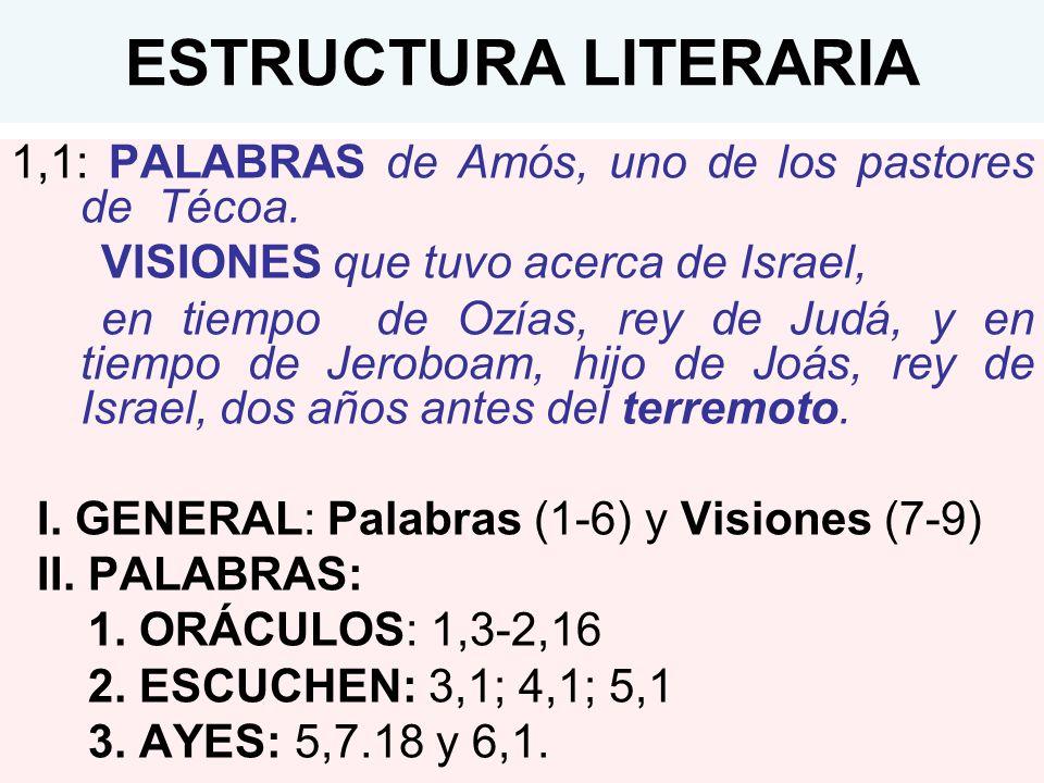 ESTRUCTURA LITERARIA 1,1: PALABRAS de Amós, uno de los pastores de Técoa. VISIONES que tuvo acerca de Israel, en tiempo de Ozías, rey de Judá, y en ti
