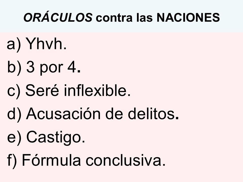 ORÁCULOS contra las NACIONES a) Yhvh. b) 3 por 4. c) Seré inflexible. d) Acusación de delitos. e) Castigo. f) Fórmula conclusiva.