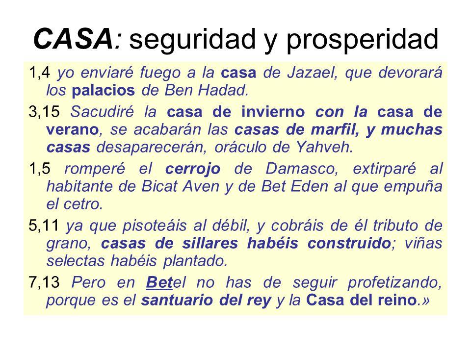 CASA: seguridad y prosperidad 1,4 yo enviaré fuego a la casa de Jazael, que devorará los palacios de Ben Hadad.