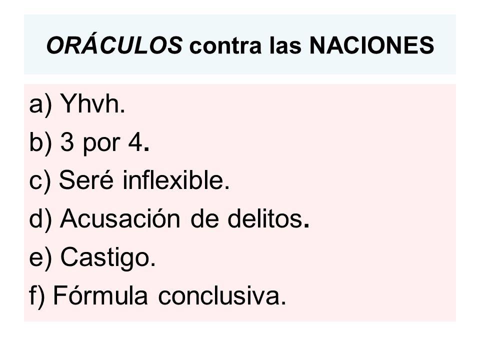 ORÁCULOS contra las NACIONES a) Yhvh.b) 3 por 4. c) Seré inflexible.