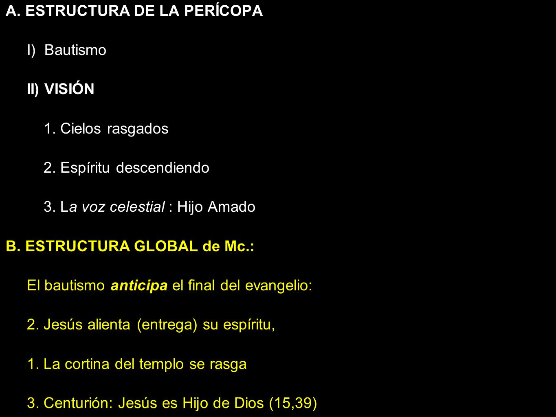 A.Estructura de PERÍCOPA B. Estructura GLOBAL I) Bautismo II) VISIÓN 1.