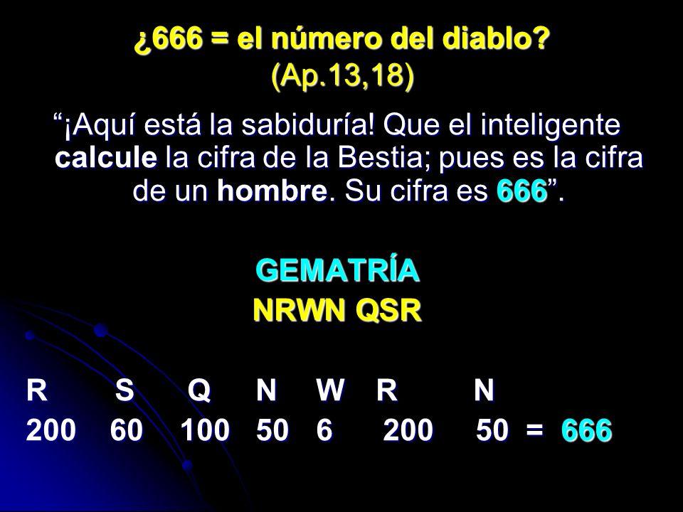 ¿666 = el número del diablo.(Ap.13,18) ¡Aquí está la sabiduría.