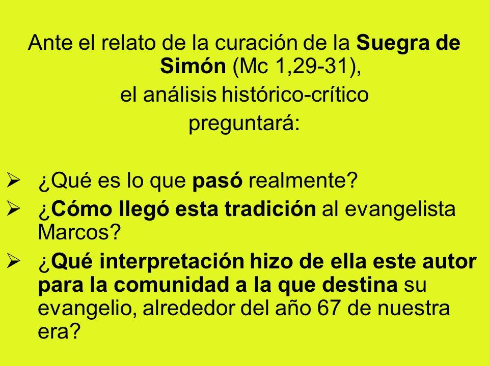 Ante el relato de la curación de la Suegra de Simón (Mc 1,29-31), el análisis histórico-crítico preguntará: ¿Qué es lo que pasó realmente? ¿Cómo llegó