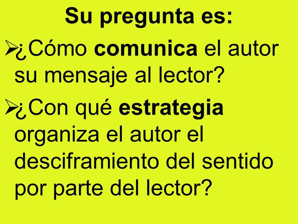 Su pregunta es: ¿Cómo comunica el autor su mensaje al lector? ¿Con qué estrategia organiza el autor el desciframiento del sentido por parte del lector