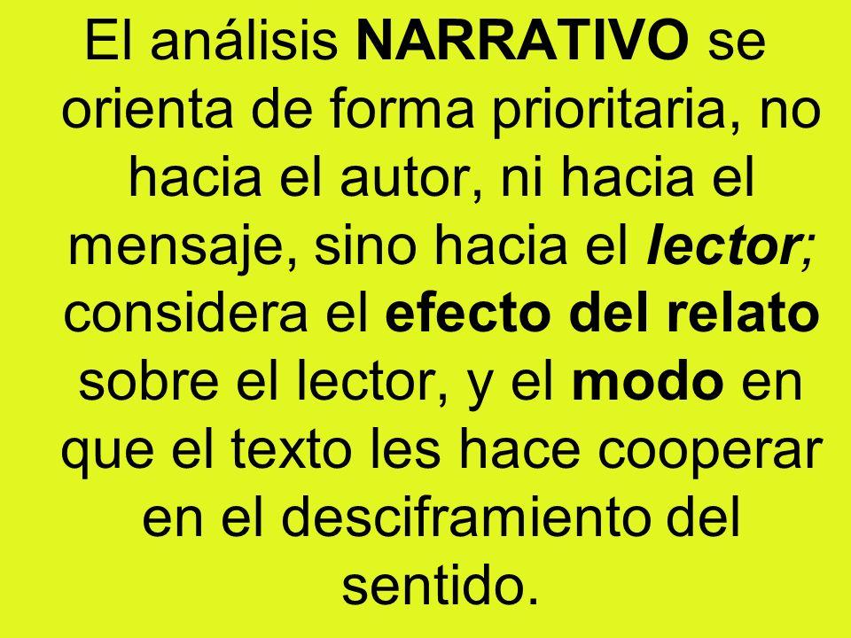 El análisis NARRATIVO se orienta de forma prioritaria, no hacia el autor, ni hacia el mensaje, sino hacia el lector; considera el efecto del relato so