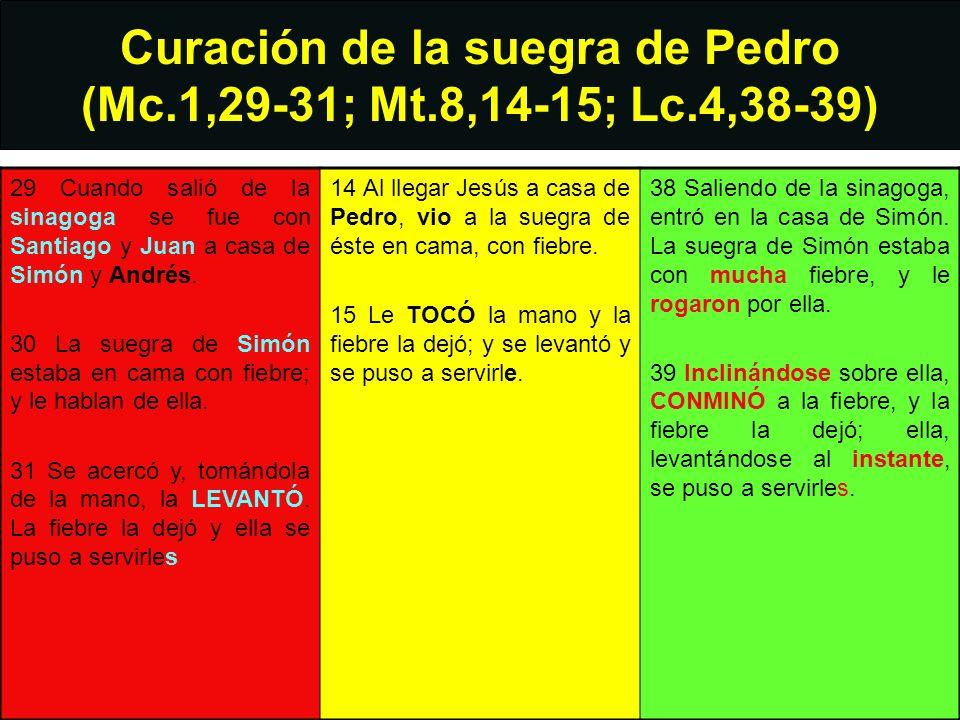 Curación de la suegra de Pedro (Mc.1,29-31; Mt.8,14-15; Lc.4,38-39) 29 Cuando salió de la sinagoga se fue con Santiago y Juan a casa de Simón y Andrés