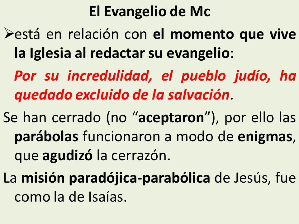 El Evangelio de Mc está en relación con el momento que vive la Iglesia al redactar su evangelio: Por su incredulidad, el pueblo judío, ha quedado excl
