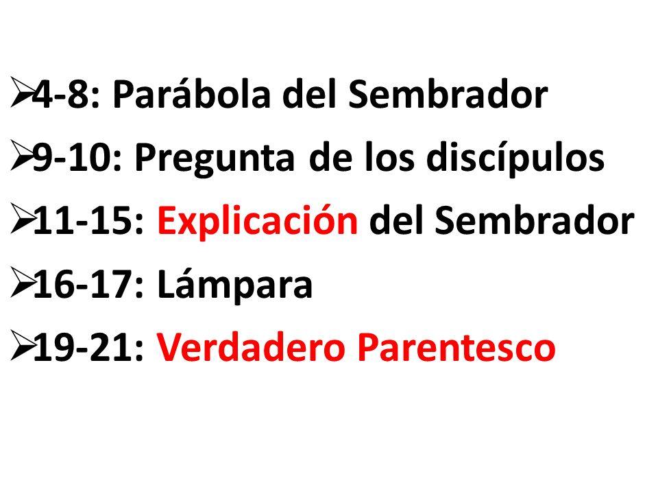 4-8: Parábola del Sembrador 9-10: Pregunta de los discípulos 11-15: Explicación del Sembrador 16-17: Lámpara 19-21: Verdadero Parentesco
