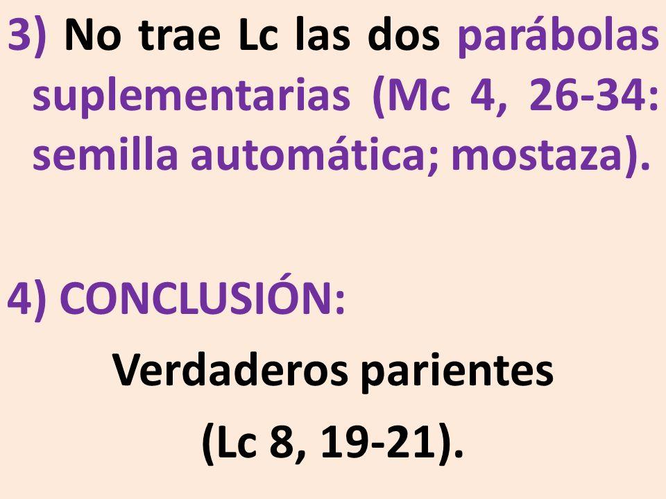 3) No trae Lc las dos parábolas suplementarias (Mc 4, 26-34: semilla automática; mostaza). 4) CONCLUSIÓN: Verdaderos parientes (Lc 8, 19-21).