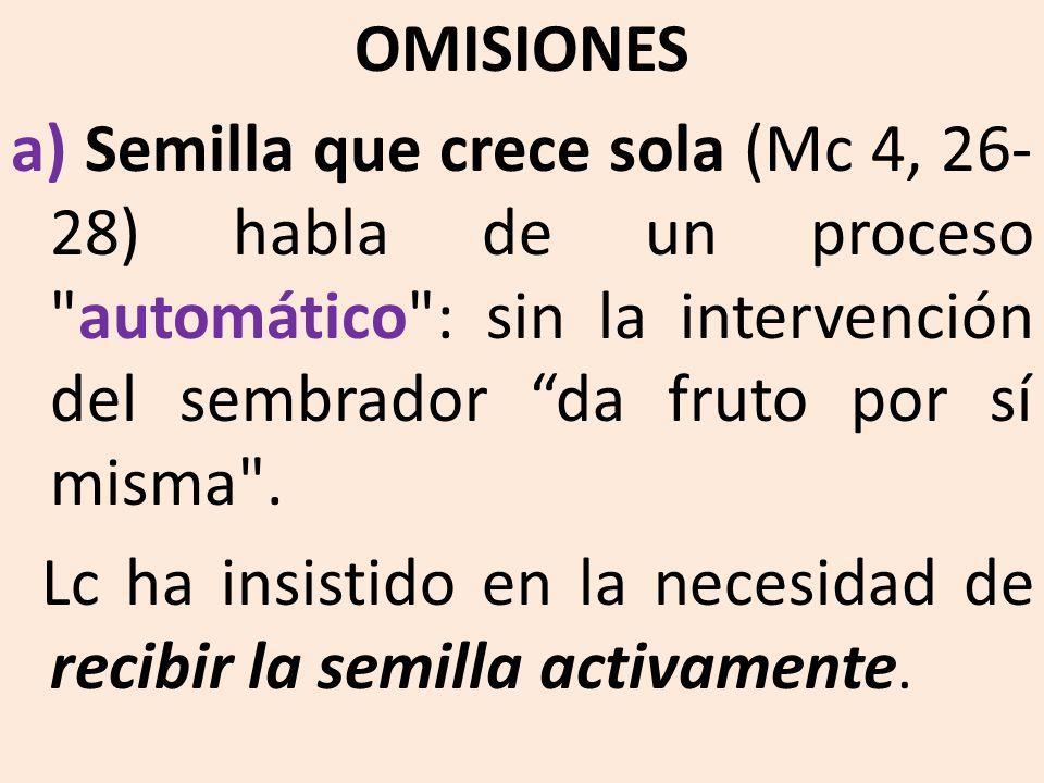 OMISIONES a) Semilla que crece sola (Mc 4, 26- 28) habla de un proceso