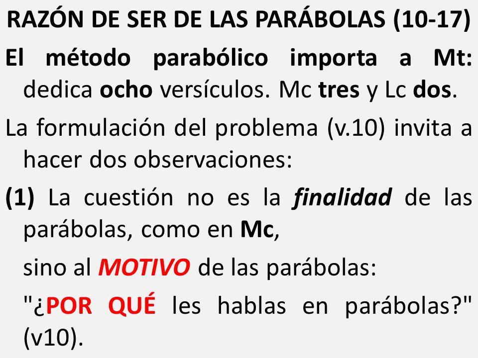 RAZÓN DE SER DE LAS PARÁBOLAS (10-17) El método parabólico importa a Mt: dedica ocho versículos. Mc tres y Lc dos. La formulación del problema (v.10)