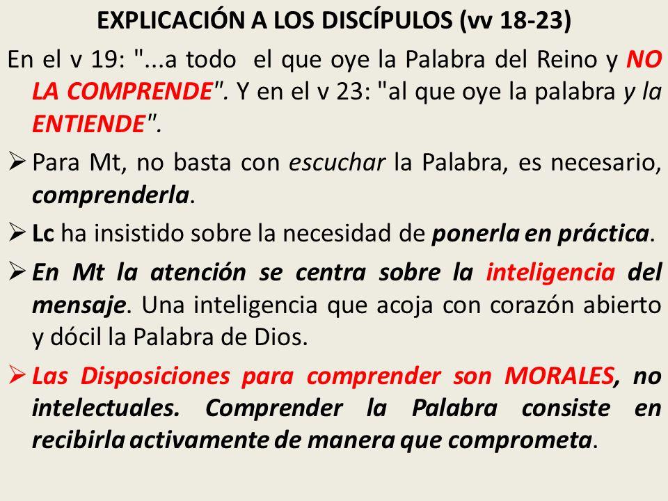 EXPLICACIÓN A LOS DISCÍPULOS (vv 18-23) En el v 19: