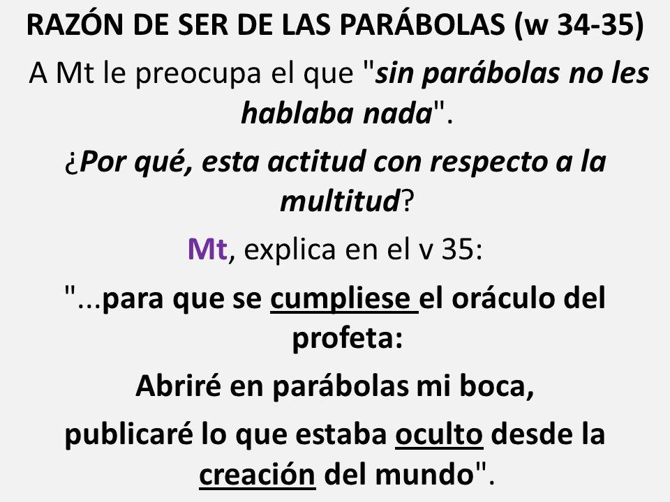 RAZÓN DE SER DE LAS PARÁBOLAS (w 34-35) A Mt le preocupa el que