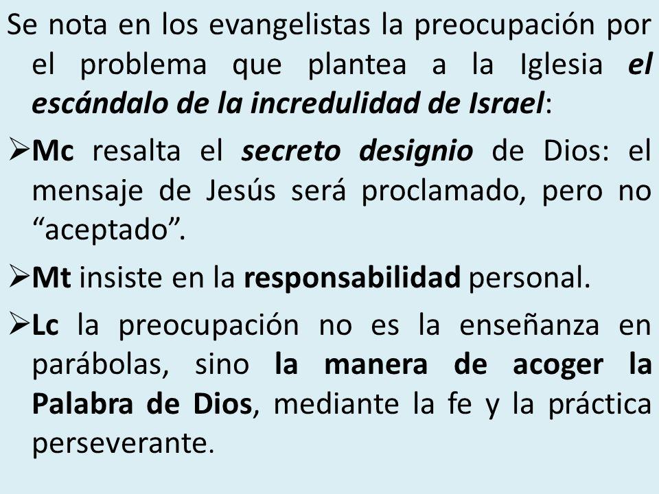 Se nota en los evangelistas la preocupación por el problema que plantea a la Iglesia el escándalo de la incredulidad de Israel: Mc resalta el secreto