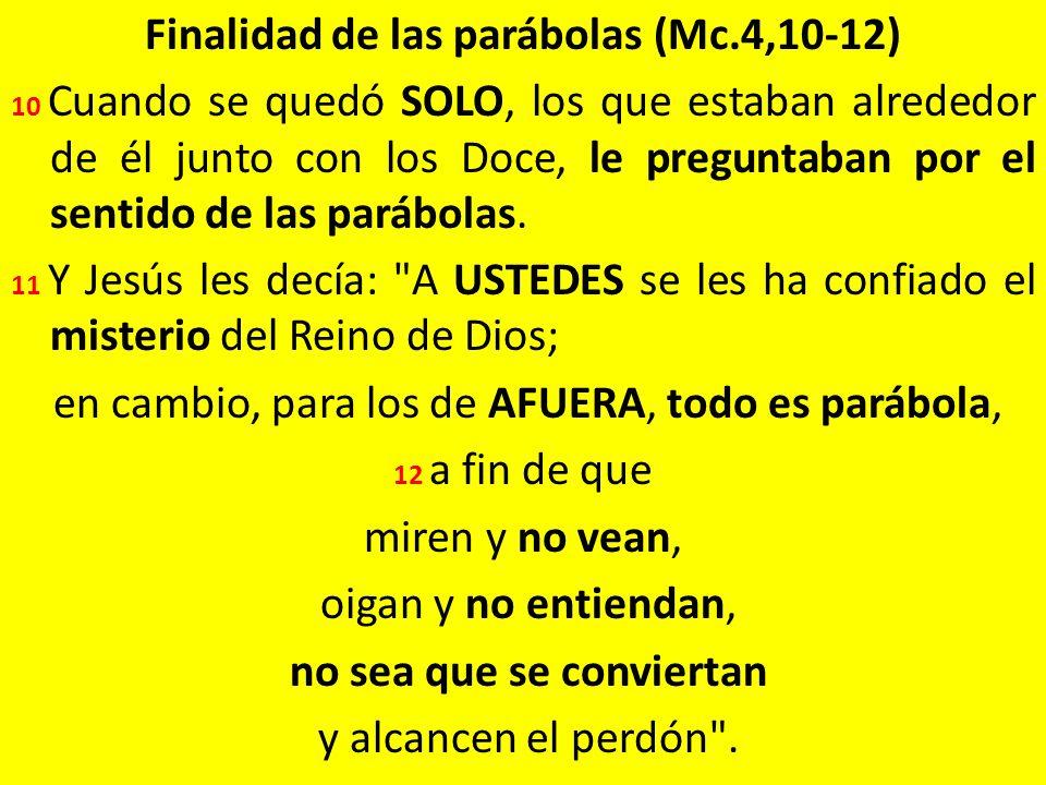 Finalidad de las parábolas (Mc.4,10-12) 10 Cuando se quedó SOLO, los que estaban alrededor de él junto con los Doce, le preguntaban por el sentido de