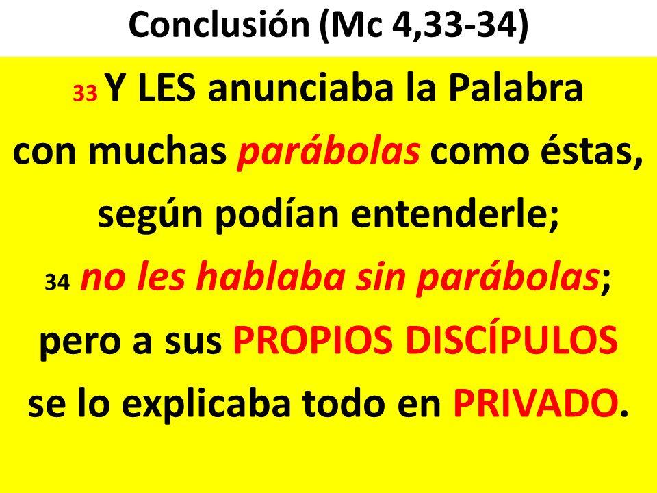 Conclusión (Mc 4,33-34) 33 Y LES anunciaba la Palabra con muchas parábolas como éstas, según podían entenderle; 34 no les hablaba sin parábolas; pero